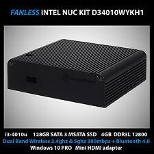 Intel Nuc Core i3 IN Fanless Case 128gb Msata SSD 4GB Windows 10 PRO Kodi 4k TV