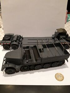 Char 1/43 - Sdkfz 9, porte char Famo gris panzer - Allemand WW2 + boîte, neuf