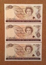 Lot Of 3 X One Dollar. New Zealand Banknotes. Queens Image.