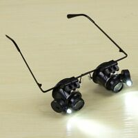 20X Glasses Type Binocular Magnifier Watch Repair Tool ,w/ Two LED Lights Best