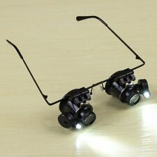 20X Glasses Type Binocular Magnifier Watch Repair Tool with Two LED Lights XP
