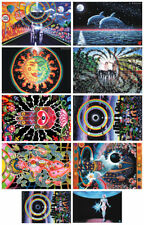 10 POSTERS UV Blacklight Fluorescent Glow-In-The-Dark Psychedelic Psy Goa Art