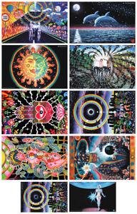 10 POSTERS UV Blacklight Fluorescent Glow-In-The-Dark Psychedelic Psy Goa Art