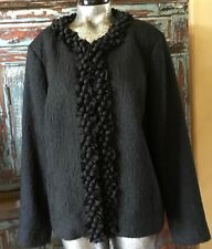 Chico's Women's Jacket Size 3 Black  Fancy Embellished Neckline and front