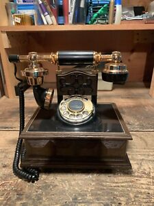 Vintage Western Electric Deco-Tel French Style Rotary Dial Telephone Black Gold