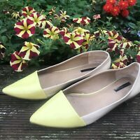 Euro 39 (UK 6 6.5) Zara Trafaluc Flat Point Pump Ballet Colour Block Lemon Nude