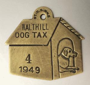 Vintage 1949 Dog Tag License Brass Tax:  WALTHILL NEBRASKA;  Dog House Shaped