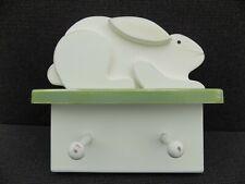 Wooden bunny rabbit shelf slightly distressed for nursery or kids room