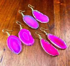 Pink Agate Slice Earrings Raw Edges Gold Hook CC1 Healing Crystals And Stones