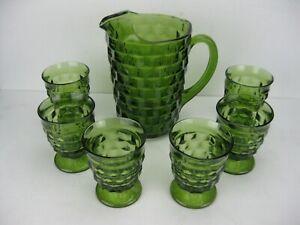 Vtg Mid-Century Avocado Green Cube Pattern Heavy Glass Pitcher & 6 Glasses Mint!