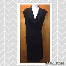 Michael Kors Woman's Little Black Dress LBD Medium Faux Wrap One Shoulder Draped
