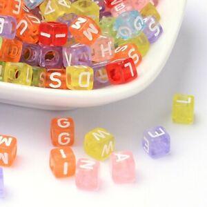 100  BULK Alphabet Letter Beads Cube Assorted Lot Wholesale Rainbow Transparent