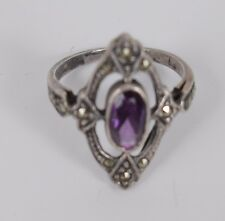 Art Deco Style Cross Size 6 Ring .925 Sterling Silver Amethyst Marcacite