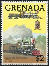CHICAGO & ROCK ISLAND America 4-4-0 (1867) Grenada Train Stamp 1989