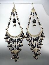 STUNNING Black Onyx Crystal Beads Gold Chandelier Dangle Peruvian Earrings 10-14