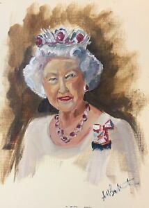 Print of Original oil painting portrait of the Queen Impressionism shabby chic