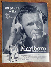 1956 Marlboro Man Cigarette Ad  Guy with Head Phones on Radio Pilot