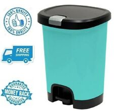 New 7gal Teal Step On Trash Can Wastebasket Garbage Plastic Waste Container Bin