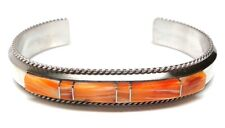 Navajo Spiny Oyster Inlay Sterling Silver Cuff Bracelet -Fran Yazzie