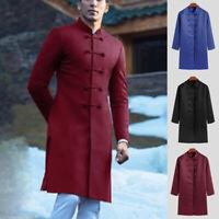 Men's Chinese Tang Shirts Long Sleeve Ethnic Button Coat Cardigan Shirt Robe Top