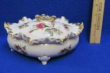 Porcelain Oval Candy Trinket Dish w/ Lid Footed Floral Ruffled Edge Vintage