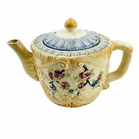 Vintage Antique Teapot JAPAN Ceramic Hand Painted Floral Feather Scrollwork Old
