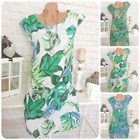 Italy Blumen Kleid Sommer Leinen geblümt Blätter A-Linie Midi 36 38 40 42 44