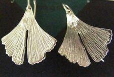 Sterling Silver .925 Gingko Leaf Leaves Hook Drop Dangle Earrings Elysium