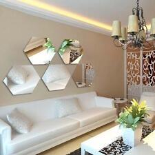 Argent 12pcs 3D Hexagonal Acrylique Miroir Stickers muraux Décor autocollant AT