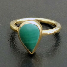 Handmade Hammered Drop Malachite Ring Yellow Gold over 925K Sterling Silver
