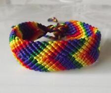 01 Rainbow Friendship Bracelet. Handmade in Peru. 0.75 inches Wide