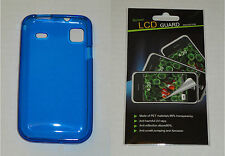Blue TPU Soft Gel Skin Case & Screen Protector For Samsung Vibrant T959