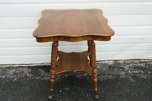 Victorian Solid Tiger Oak Glass Ball and claw Feet 1900s Side End Table 2155