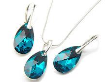 Silber Schmuck Set mit Swarovski Elements Kette Kristall Mandel Blue Zircon CAL