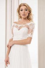 NEW Womens Bridal Ivory White Lace Bolero Shrug Wedding Jacket Size S/M - L/XL