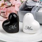 1 set of Ceramic Mr. & Mrs. Salt Pepper Shakers Canister Wedding Party Decor LJ