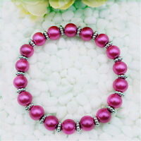 DIY Wholesale Fashion Jewelry 8mm Rose Pearl Beads Stretch  Bracelet