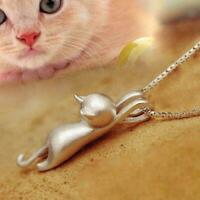Katze Anhänger Kette Halskette Ohrstecker Silber Damenmode Schmuck K1C7