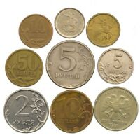 10 RUSSIAN FEDERATION COINS RUSSIA COLLECTIBLE COINS: KOPEKS, RUBLES, ROUBLES