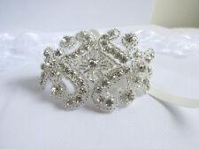 Rhinestone Bridal Cuff, Crystal Wedding Bracelet, Silver Bride Jewelry UK seller