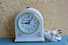 Seth Thomas White Porcelain Electric Alarm Clock 9203 Fanciful Drouse Dialite