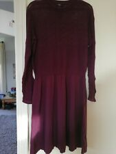 Ladies NEXT Long Sleeved Mulberry / Wine / Burgandy Dress Size 16  NEW NO TAGS