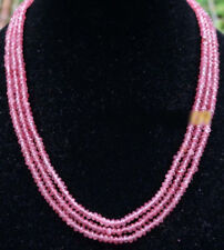 NATURAL 3 Rows 2X4mm FACETED Pink Watermelon Tourmaline BEADS NECKLACE 18-20''