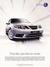 2008 SAAB 9-3 93 Turbo - Time - Original Advertisement Print Art Car Ad J618