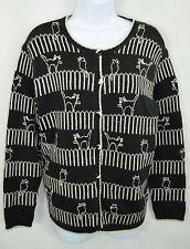 Talbots Black & White Ugly Cats Btn Front Sweater Womens Small Wool Blend