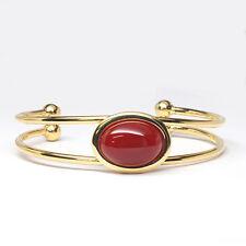 Carnelian Gemstone Cuff Bracelet, Rust Red, Gemstone Bracelet, One Size