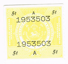 (19-951) 2  Mint Puerto Rico  5 cent Tax sTamps