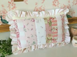 Cottage Sweet Ruffled PATCHWORK PILLOW made w/ Rachel Ashwell SHABBY fabric NEW