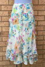 FENN WRIGHT MANSON Size 16 Women Skirt 100% Silk Cream Floral Tie Strings Design