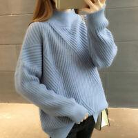 Loose Pullover Sweater Women Jumper Half Turtleneck Long Sleeve Knit Top FemalDS